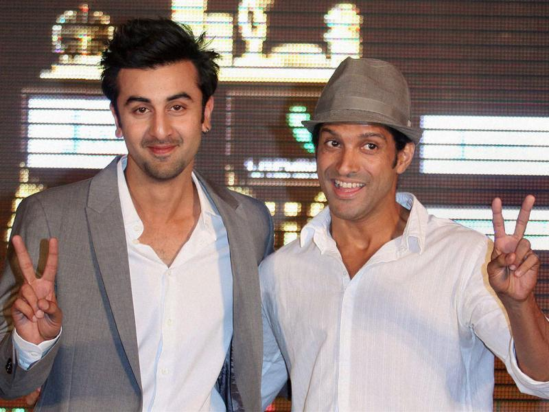 Ranbir Kapoor and Farhan Akhtar during promotional event for IIFA 2012 in Mumbai.