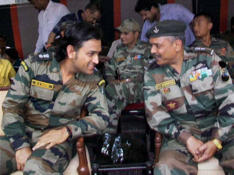 Lieutenant Colonel MS Dhoni, interacts with soldiers on the Line of Control (LoC) on Jammu and Kashmir's border with Pakistan, near Jammu on Saturday. (PTI Photo)