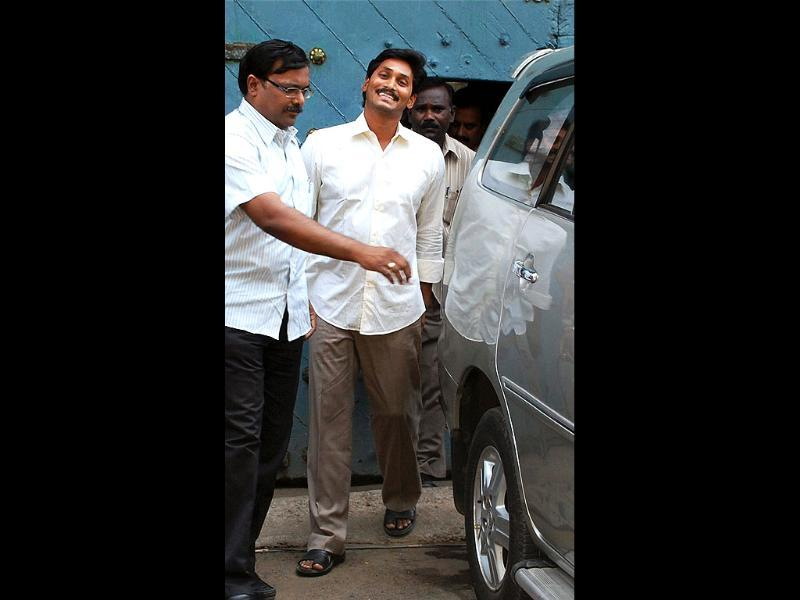 YSR Congress chief Jaganmohan Reddy comes out of the Chanchalguda Jail in Hyderabad. PTI photo