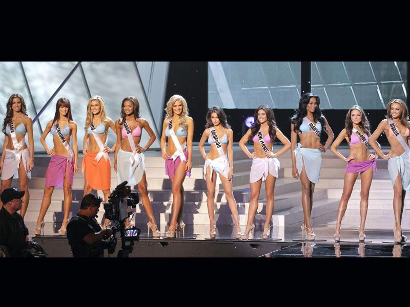 The ten Miss USA finalists pose on stage during the 2012 Miss USA pageant in Las Vegas. AP/Julie Jacobson
