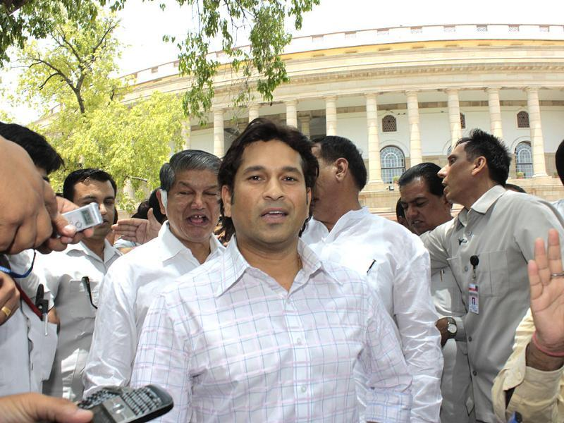 Master Blaster Sachin Tendulkar reacts after becoming a member of the Upper House of Parliament in New Delhi. HT/Sunil Saxena