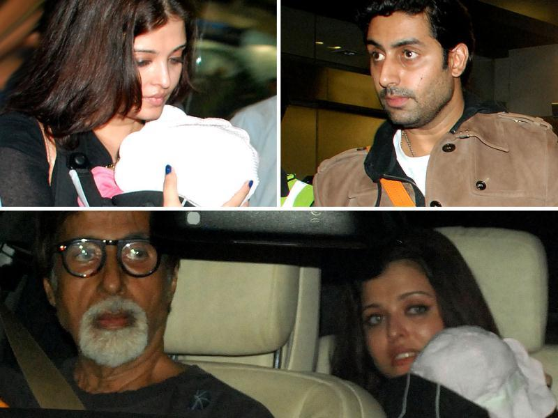Aishwarya Rai the doting mom was spotted with her daughter at the Mumbai airport. While daddy Abhishek and grandparents Amitabh-Jaya also accompanied the actress, Aaradhya was seen in the arms of mommy dearest only.