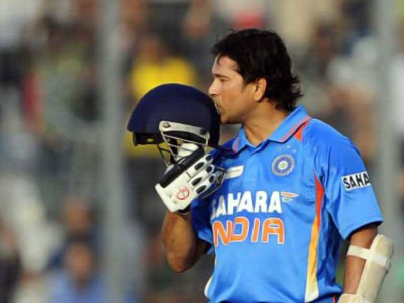 Tendulkar kisses his helmet after scoring his hundredth century during the Asia Cup ODI between India and Bangladesh at the Sher-e-Bangla National Cricket Stadium in Dhaka. AFP/Munir uz Zaman