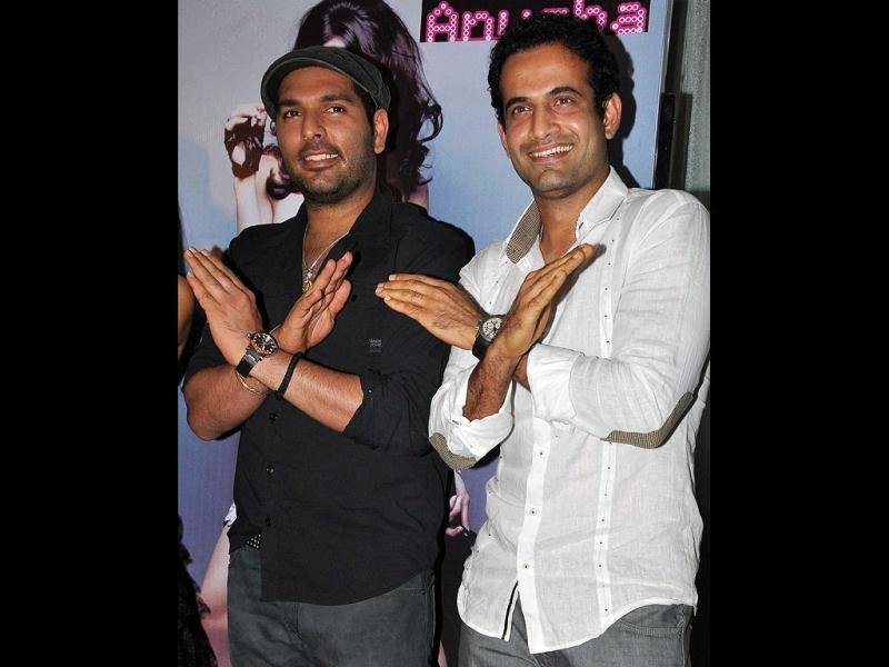 Yuvraj Singh and Irfan Pathan at the launch.