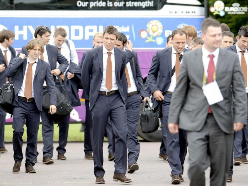 Members of Croatia's national soccer team arrive to their base camp at the soccer Euro 2012 in Warka, Poland. Croatia plays in the group C at the upcoming Euro 2012 soccer championships. (AP Photo/Darko Bandic)