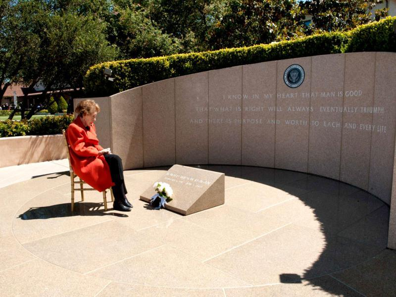 Nancy Reagan observes the eighth anniversary of the passing of her husband, former US President Ronald Reagan after laying flowers at his gravesite at the Ronald Reagan Presidential Library in Simi Valley, California. Reuters