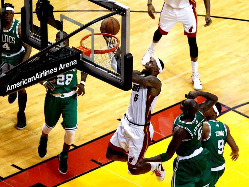 LeBron James #6 of the Miami Heat drives for a shot attempt against the Boston Celtics in Game Five of the Eastern Conference Finals in the 2012 NBA Playoffs at American Airlines Arena in Miami, Florida. AFP/J Meric/Getty