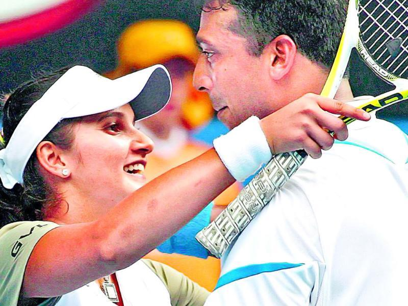 Sania Mirza (left) and Mahesh Bhupathi entered their third Grand Slam final after Wednesday's win. File photo