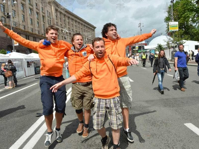 Dutch fans pose in the Euro 2012 fanzone in Kiev on the eve of the Euro 2012 football championships opening match in Warsaw. AFP/Sergei Supinsky