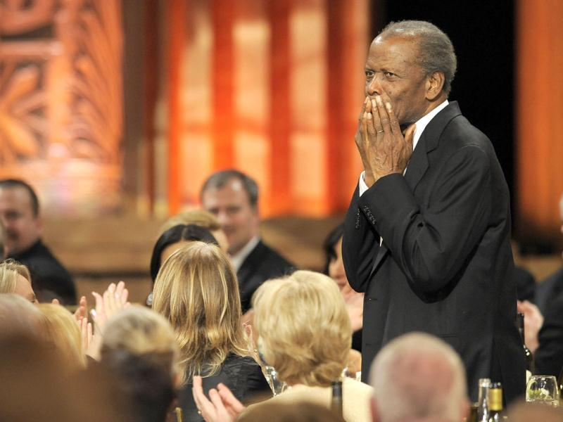 Sidney Poitier attends the AFI Life Achievement Award Honoring Shirley MacLaine at Sony Studios in Culver City, California. AP