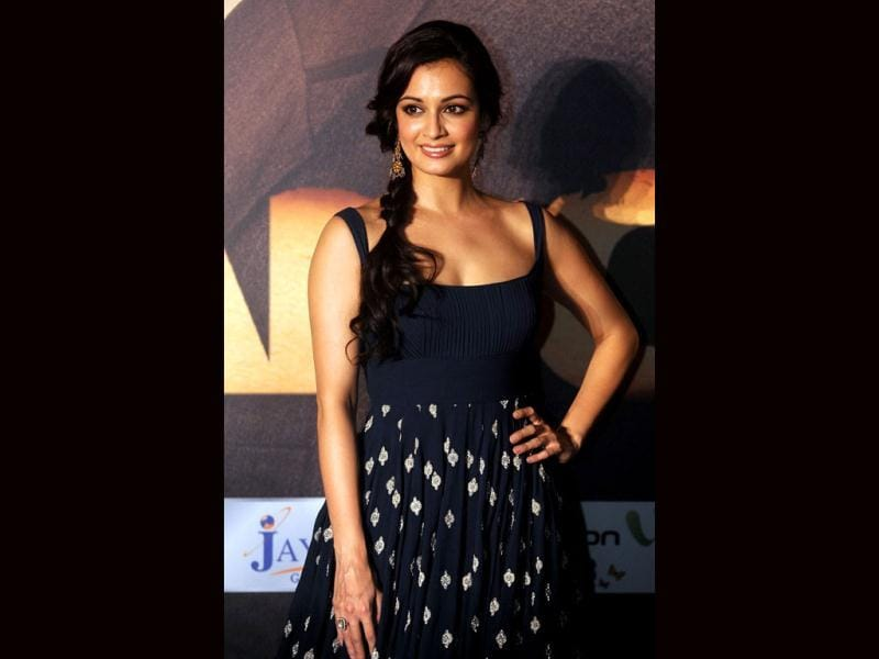 Dia Mirza keeps it simple in a blue dress.