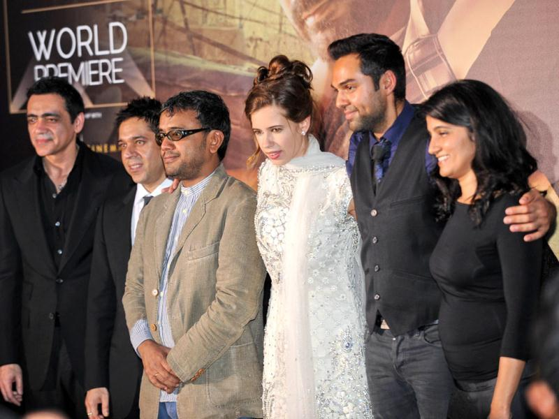 Kalki Koechlin, Abhay Deol, director Dibankar Banerjee along with others pose for the media on the green carpet for the International Indian Film Academy (IIFA) World Premier, Shanghai. (AFP photo)