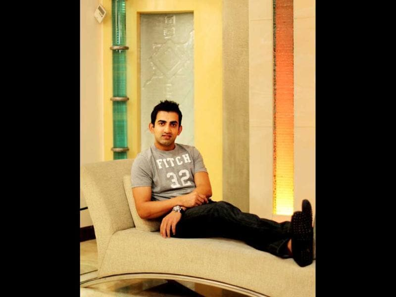Gambhir can finally put his feet up and relax now that there is no cricket action for some time (HT Photo: Ajay Aggarwal)