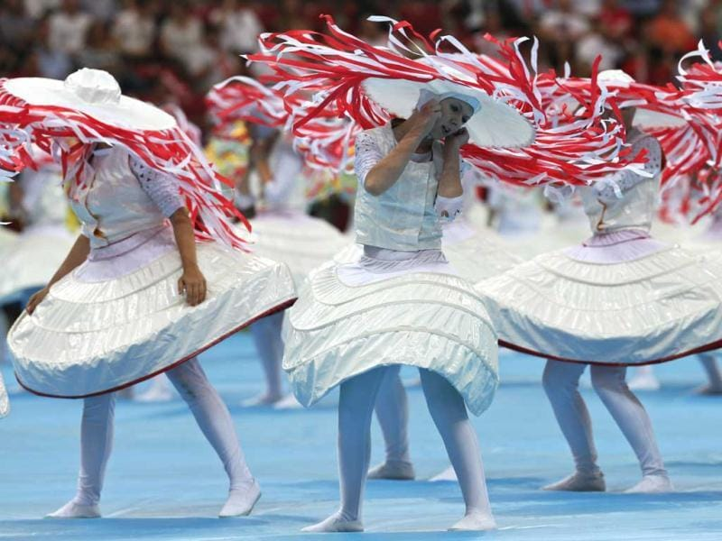 Artists perform during the opening ceremony of the Euro 2012 soccer championship in Warsaw, Poland. (AP Photo/Michael Sohn)
