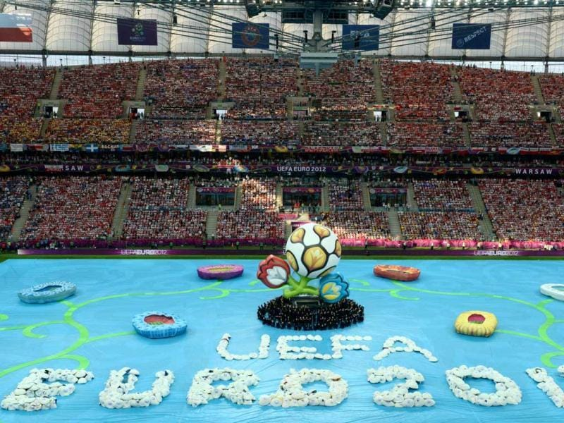 General view of the opening ceremony prior to the kick off of the Euro 2012 football championships match at the National Stadium in Warsaw. (AFP Photo/Janek Skarzynski)