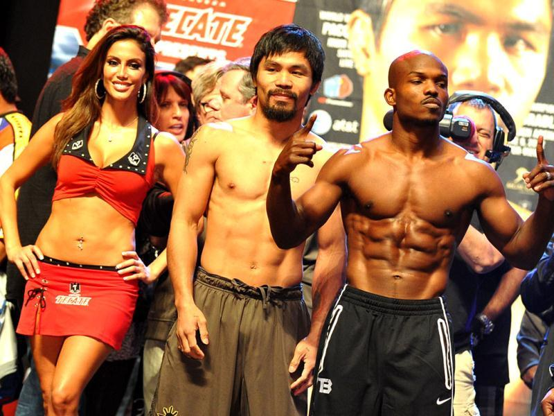 Manny Pacquiao of the Philippines and Timothy Bradley of US attend weigh-in session at the MGM Grand Arena in Las Vegas. Pacquiao and Bradley will fight on June 9. (AFP Photo)