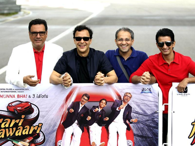 Boman Irani, producer Vidhu Vinod Chopra, director of the film Rajesh Mapuskar and Sharman Joshi pose together.
