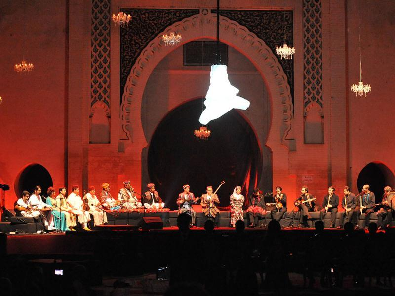 A tribute show to Persian poet Omar Khayyam is played during the opening ceremony of the 18th World Sacred Music Festival in Fes . AFP photo/Abdelhak Senna