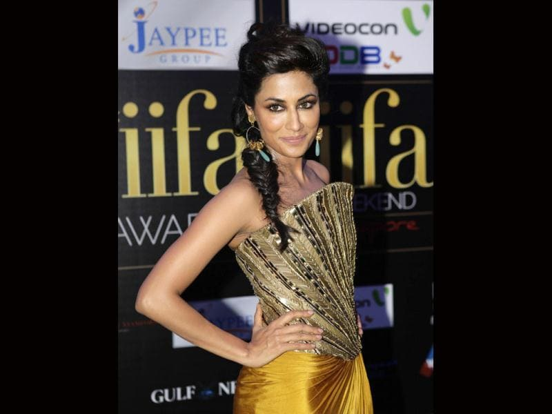 Stunner Chitrangada Singh in a gold embellished gown.