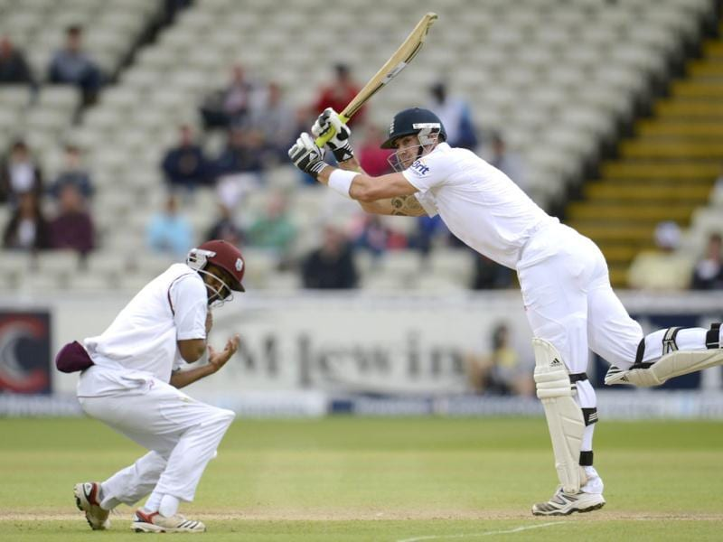 England's Kevin Pietersen hits a four as West Indies' Adrian Barath takes evasive action during the third cricket test match at Edgbaston cricket ground in Birmingham. Reuters/Philip Brown