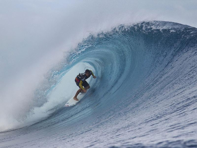 Second placed Gabriel Medina of Brazil surfs during the final of the Volcom Fiji Pro at Cloudbreak. Reuters/Kirstin Scholtz/ASP/Handout