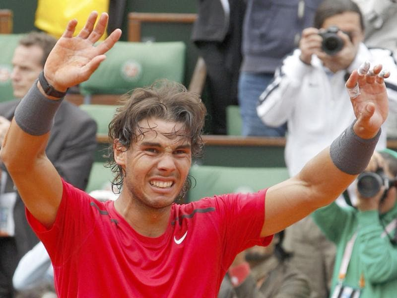 Rafael Nadal of Spain reacts after winning the men's singles final match against Novak Djokovic of Serbia at the French Open tennis tournament at the Roland Garros stadium in Paris. Reuters/Gonzalo Fuentes