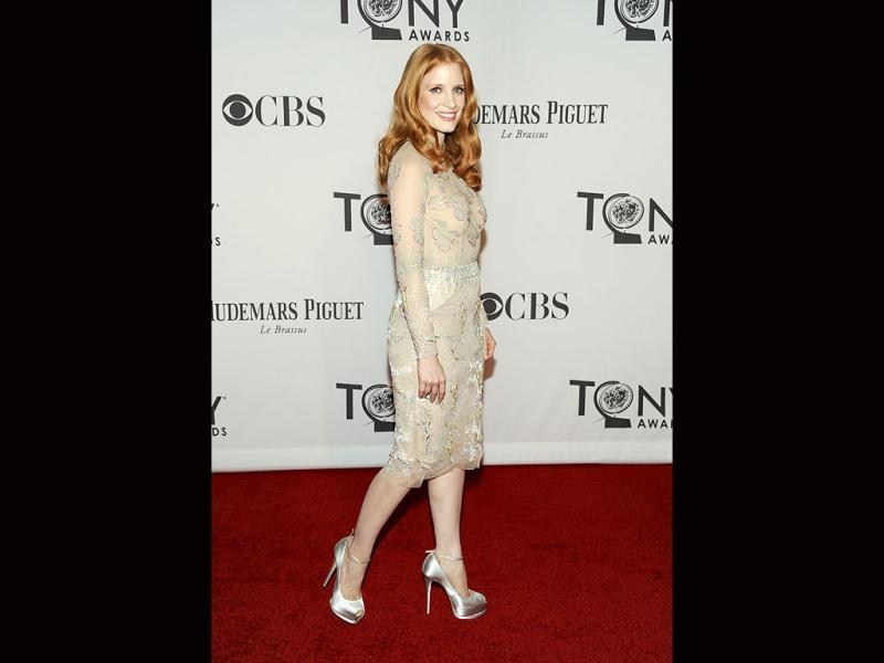 Hollywood star Jessica Chastain at the 66th annual Tony Awards. (AP)