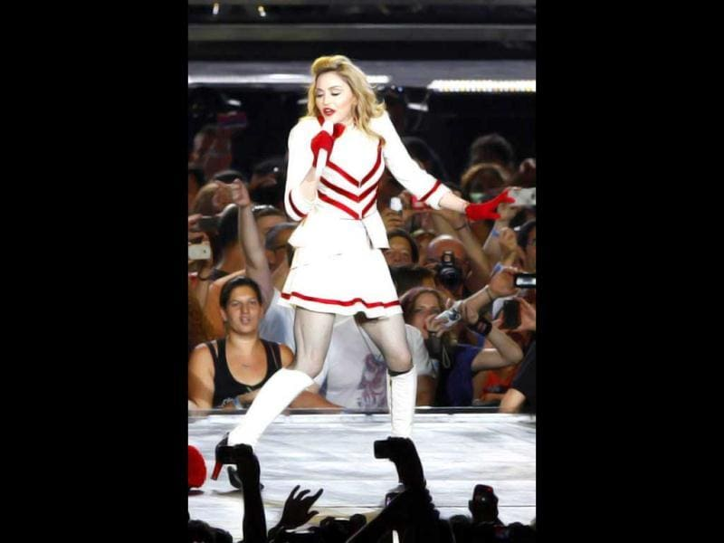 June 2012: In the Abu Dhabi concert, Madonna went all out- crosses and swastikas, an uncalled for dig at Lady Gaga, the 'F' word thrown around, young, practically nude models inappropriately touching an Madonna in a very racy costume.