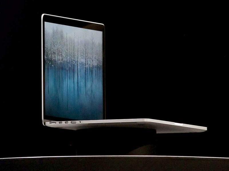 The new MacBook Pro is shown during the keynote address at the Apple 2012 World Wide Developers Conference (WWDC) at Moscone West in San Francisco, California. Justin Sullivan/Getty Images/AFP