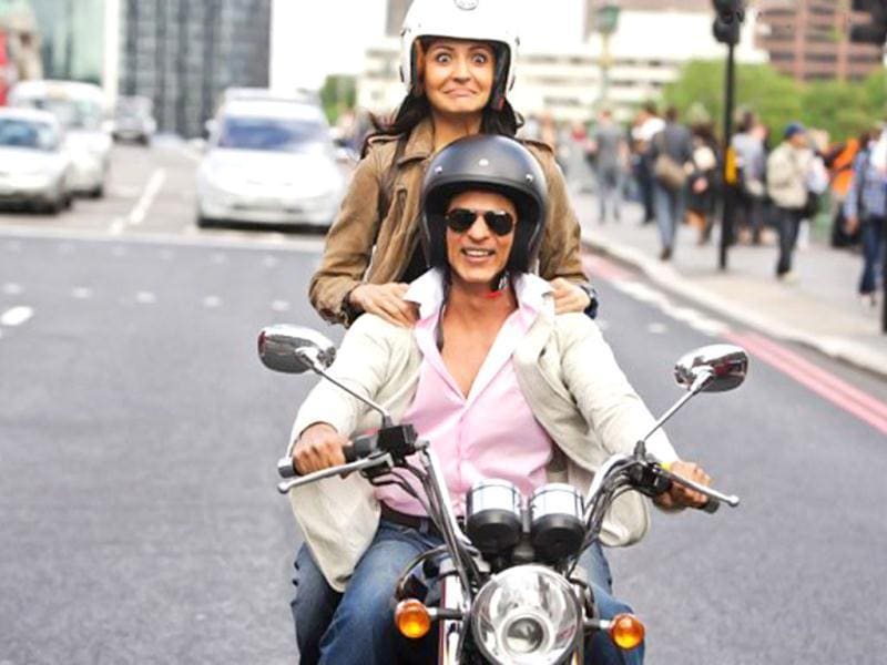 The duo is back on a bike together, though this time, Shah Rukh gets the front seat! (In the Rab Ne... bike scene, Anushka drives the bike, with SRK riding pillion).