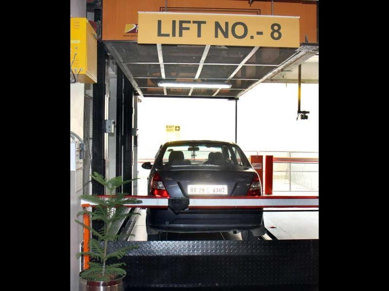 A view of automated multi level car parking Capitol Point in New Delhi. HT/Sonu Mehta