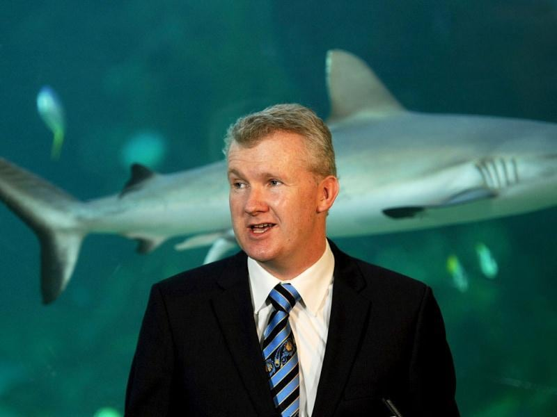 Australian environment minister Tony Burke announces plans to create the world's largest network of marine parks to protect ocean life, during a press conference at the Sydney Aquarium. The new reserves would cover 3.1 million square kilometres, or more than one-third of Australian waters, taking in significant breeding and feeding grounds. AFP/Greg Wood