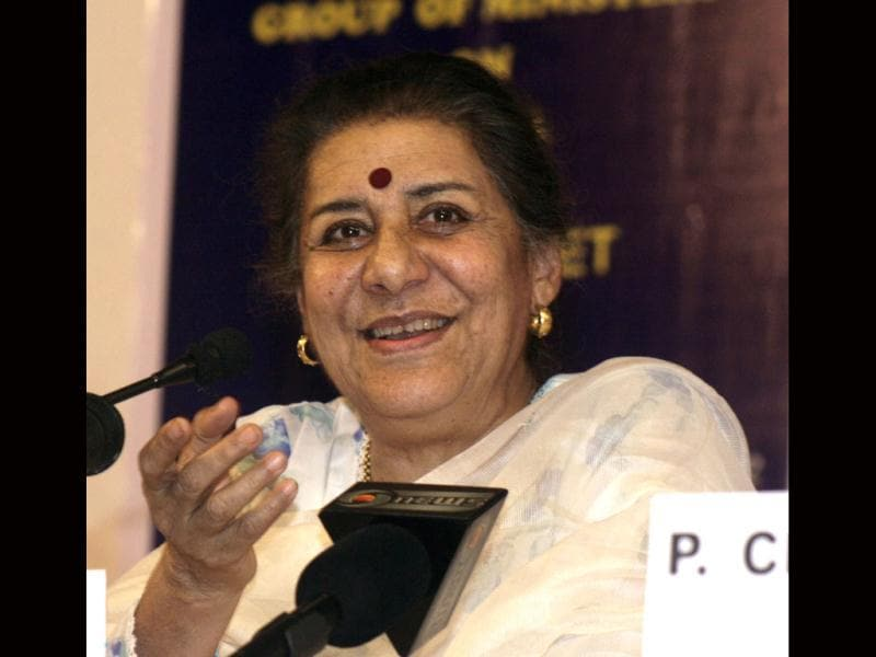 Information and broadcasting minister Ambika Soni addresses a press conference in Ahmedabad.