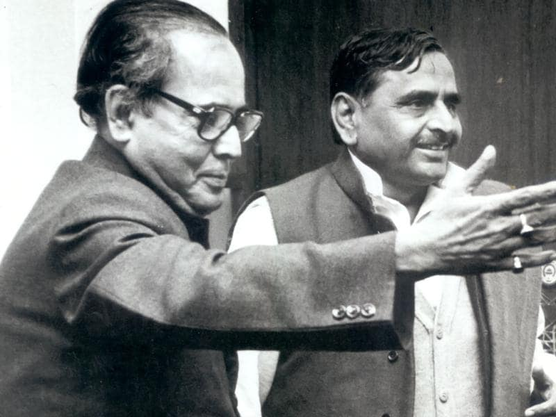 In this 1994 file photo, Pranab Mukherjee is seen with SP chief Mulayam Singh Yadav.