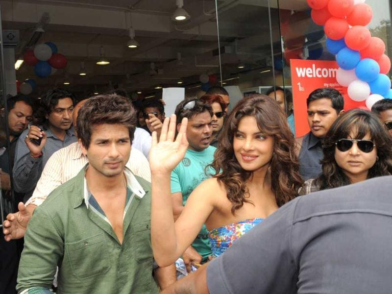 Shahid-Priyanka have been busy painting the country red for the promotions of their upcoming film Teri Meri Kahaani. (AFP Photo)