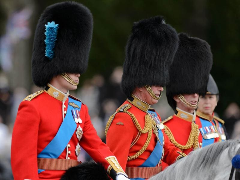Prince William, Duke of Cambridge (L), the Prince of Wales (2L), the Duke of Kent (2R) and Princess Anne (R) leave Buckingham Palace ahead of the Queen's Birthday Parade, 'Trooping the Colour' at Horse Guards Parade in London. AFP/Leon Neal