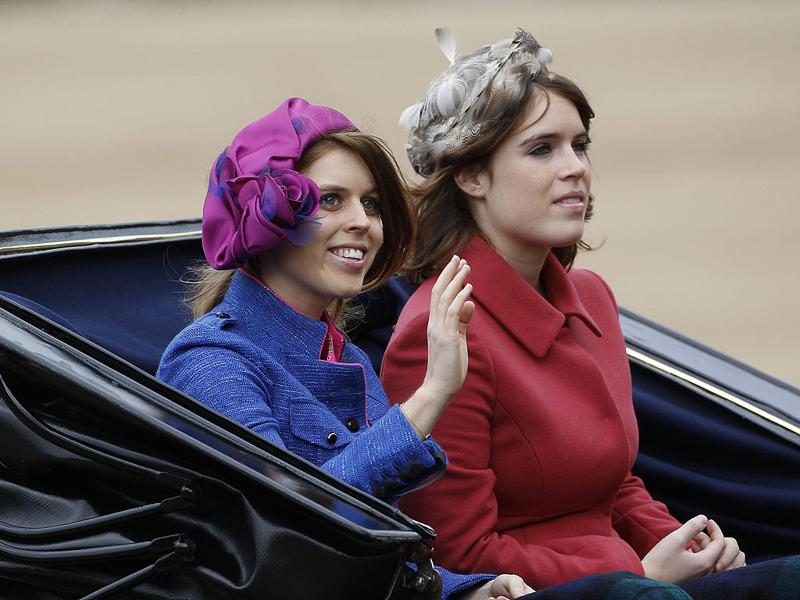 Britain's Princess Beatrice and Princess Eugenie travel to Horse Guards Parade for the Trooping the Colour ceremony in central London. Trooping the Colour is a ceremony to honour the sovereign's official birthday. REUTERS/Suzanne Plunkett