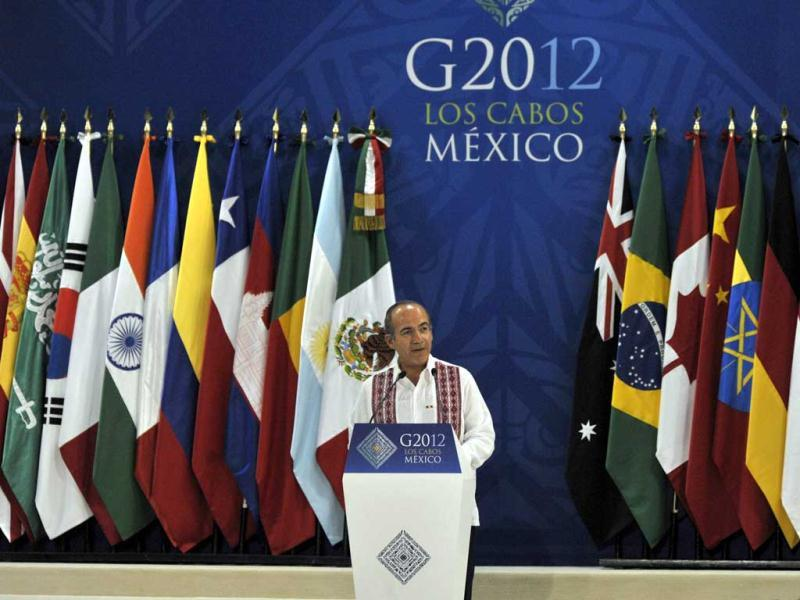 Mexican President Felipe Calderon gives a speech during the inauguration of the G-20 Convention Center in Los Cabos, Baja California, Mexico in the framework of the G20 leaders Summit. AFP/Cris Bouroncle