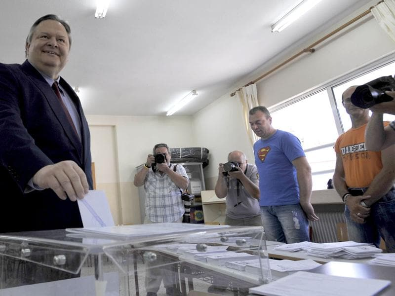 Greece's Socialist leader Evangelos Venizelos casts his ballot during the elections in Thessaloniki. Greeks voted for the second time in six weeks in what was arguably their country's most critical election in 40 years, with the country's treasured place within the European Union's joint currency in the balance. AP Photo/Nikolas Giakoumidis
