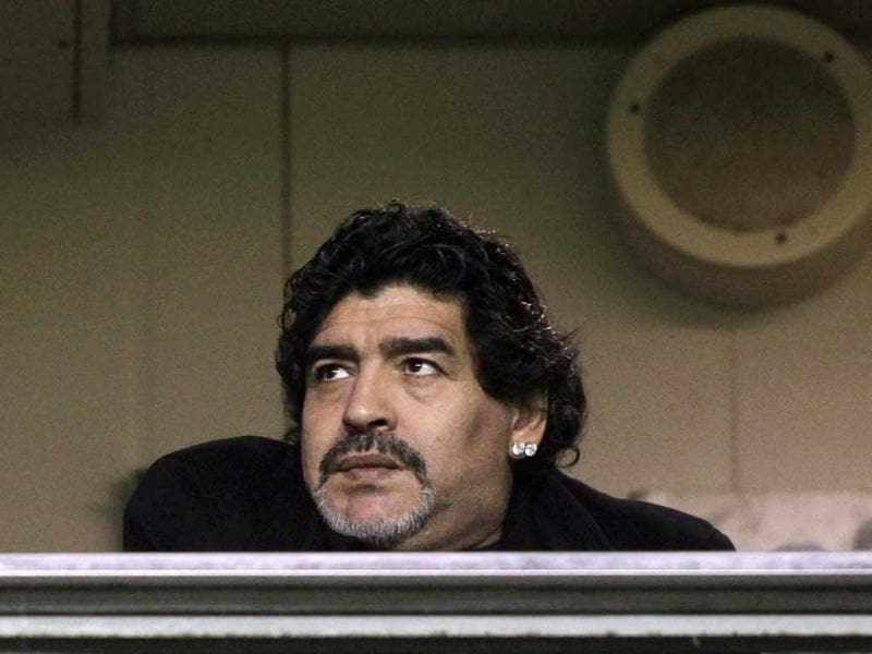 Argentine soccer legend Diego Maradona, coach of UAE's Al Wasl, waits for the start of the Argentine First Division soccer match between Boca Juniors and Arsenal in Buenos Aires. Reuters/Marcos Brindicci