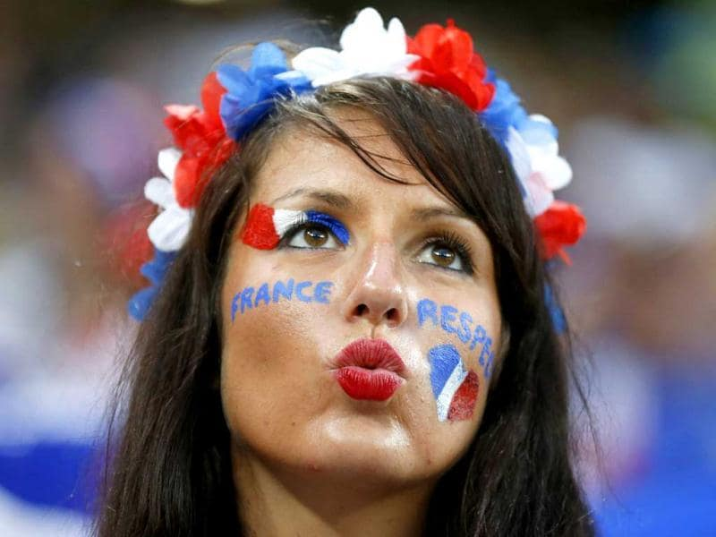 A fan of France is pictured before their Group D Euro 2012 soccer match against Ukraine at Donbass Arena in Donetsk. (Reuters/Michael Buholzer)