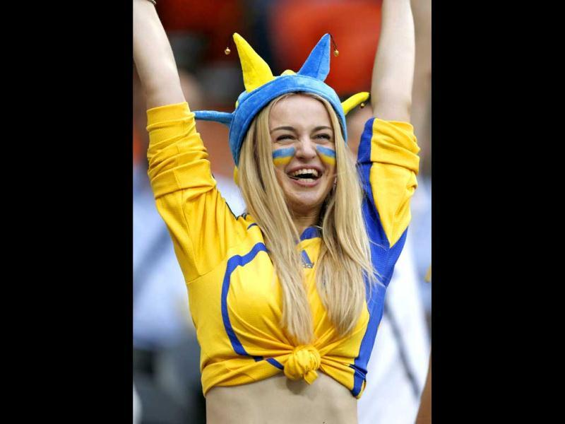 Ukrainian soccer fan cheers before the Group D Euro 2012 soccer match against France at Donbass Arena in Donetsk. (Reuters/Charles Platiau)