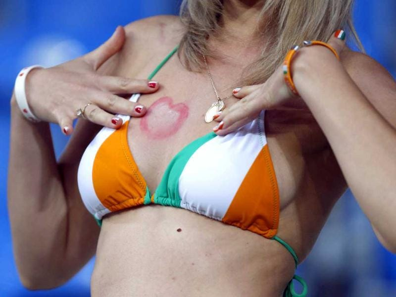 An Irish fan waits for the start of their Group C Euro 2012 soccer match against Croatia at the City Stadium in Poznan. (Reuters/Dominic Ebenbichler)