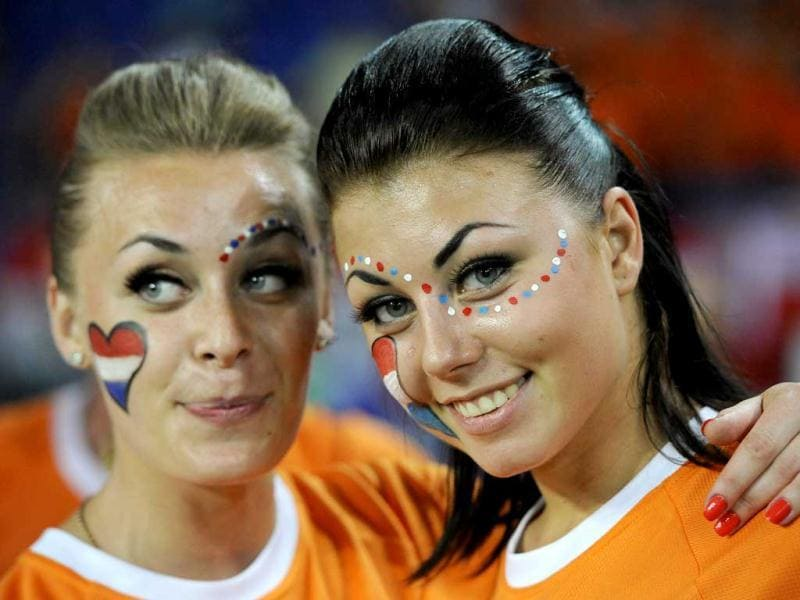 Netherlands' fans are pictured before their Group B Euro 2012 soccer match against Germany at the Metalist stadium in Kharkiv. (Reuters/Felix Ordonez)