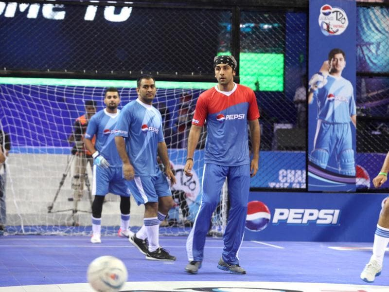 Ranbir Kapoor plays football at the exhibition match.
