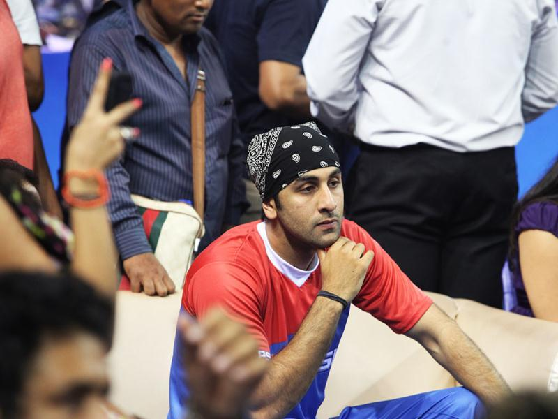 Spectator Ranbir Kapoor watches the match.