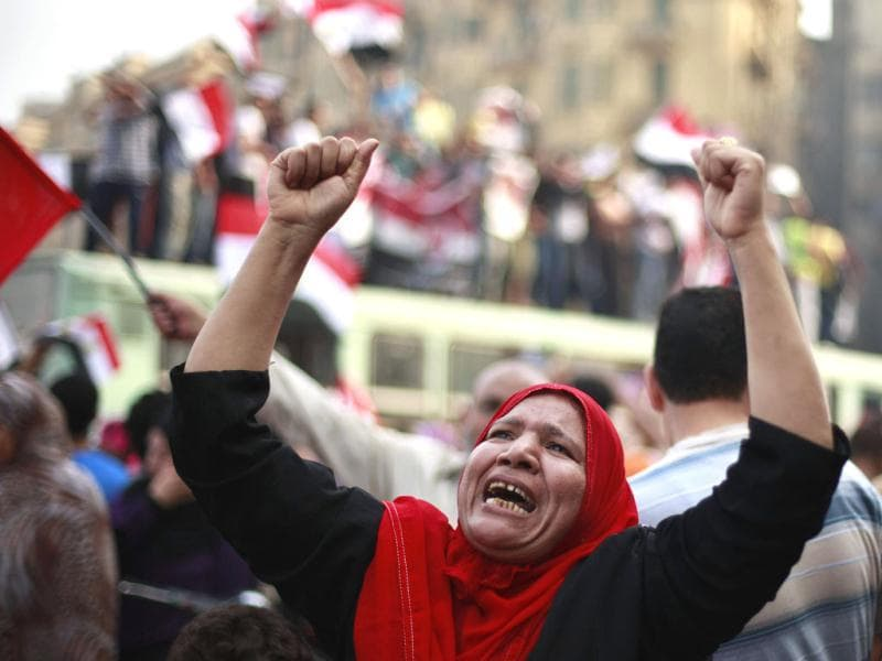 A supporter of the Muslim Brotherhood's presidential candidate Mohamed Morsy celebrates at Tahrir square in Cairo. Reuters/Suhaib Salem
