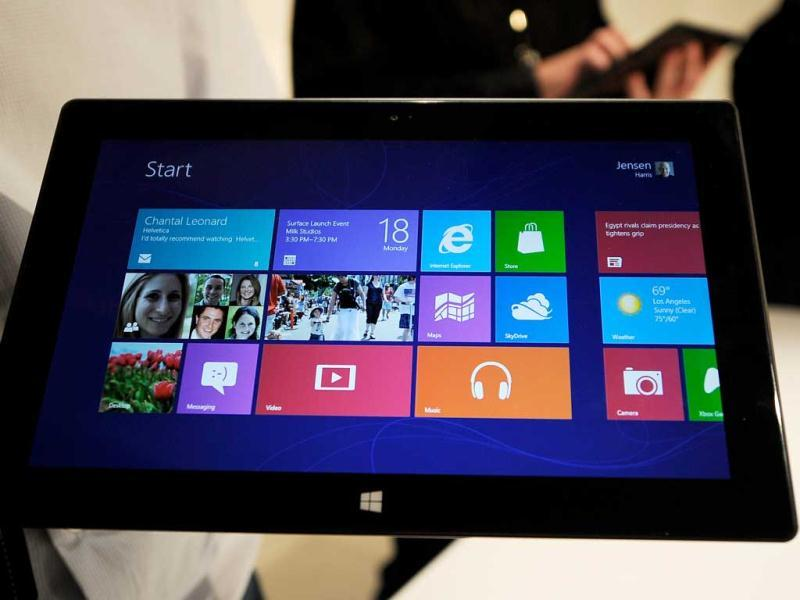 The Microsoft tablet Surface is unveiled during a news conference. AFP Photo/Kevork Djansezian