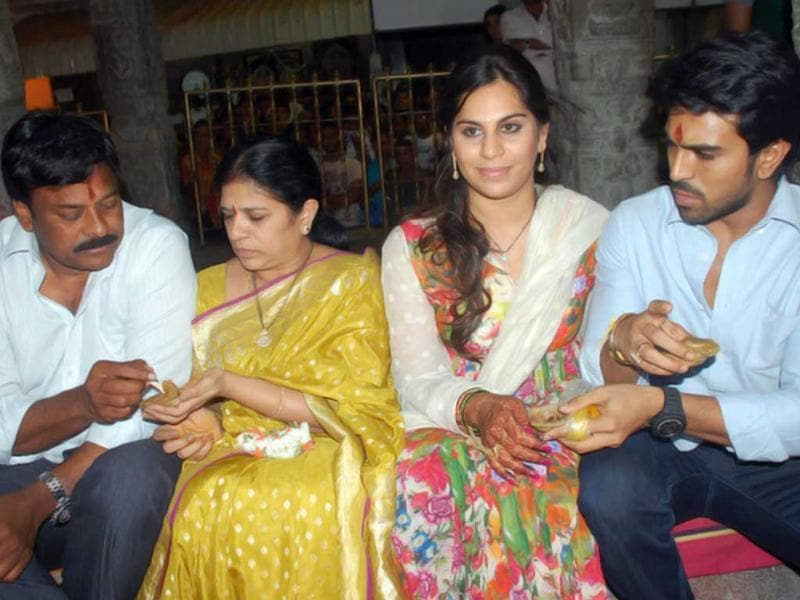 Happy family: (L-R) Chiranjeevi, his wife, Upasana and Ram Charan Teja.