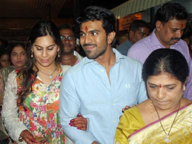 Upasana, Ram Charan Teja and his mother take a round of the Sri Venkateshwara temple in Tirumala.